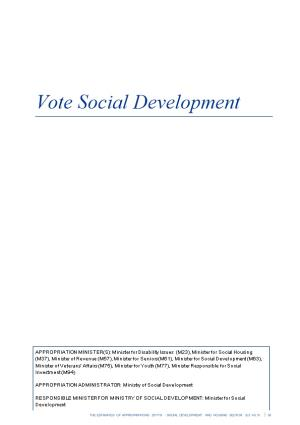 Vote Social Development - Vol 10 Social Development and Housing Sector - the Estimates