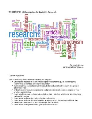 W2 2013 EPSE 595 Introduction to Qualitative Research