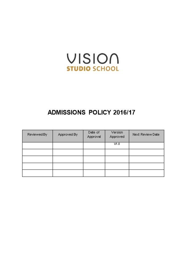 Walsall Studio School Admissions Policy