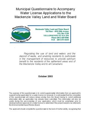 Water License Applications to The