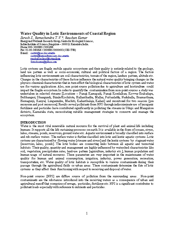 Water Quality in Lotic Environments of Coastal Region