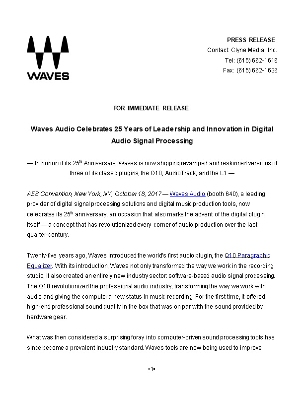 Waves Audio Celebrates 25 Years of Leadership and Innovation in Digital Audio Signal Processing