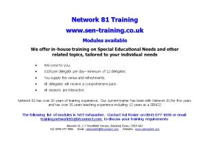 We Offer In-House Training on Special Educational Needs and Other