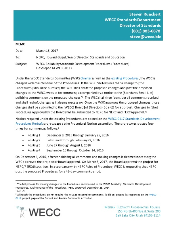 WECC-0117 Proposed Reliability Standards Development Procedures - Change Highlights