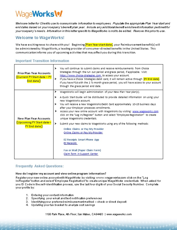 Welcome Letter for Client to Use to Communicate Information to Employees. Populate The