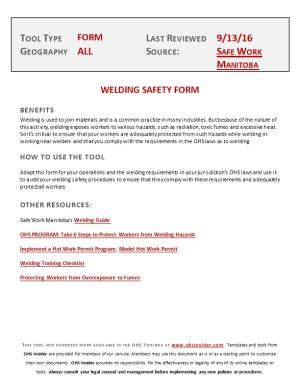 Welding Safety Form