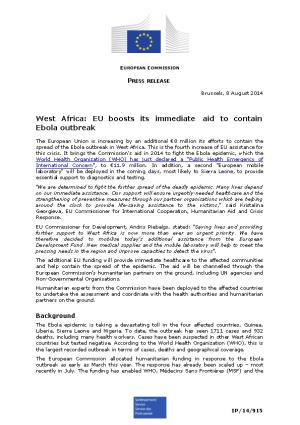 West Africa: EU Boosts Its Immediate Aid to Contain Ebola Outbreak