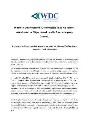 Western Development Commission Lead 1 Million Investment in Sligo Based Health Food Company