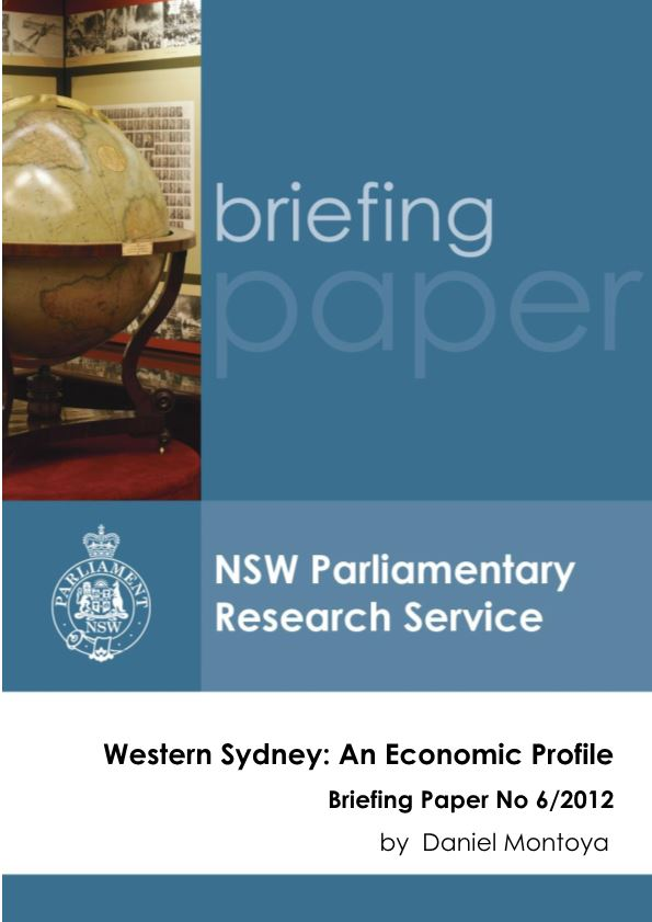 Western Sydney: an Economic Profile Briefing Paper No 6/2012