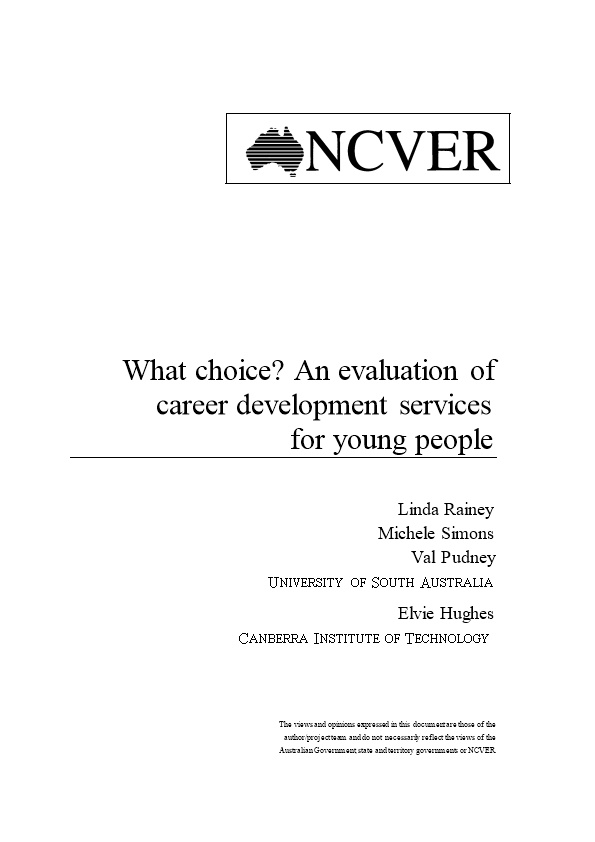 What Choice? an Evaluation of Career Development Servicesforyoung People