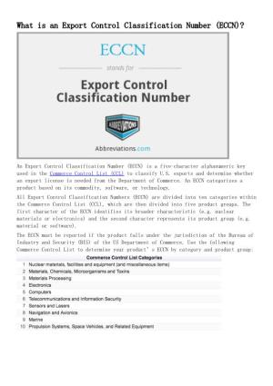 What Is an Export Control Classification Number (ECCN)?