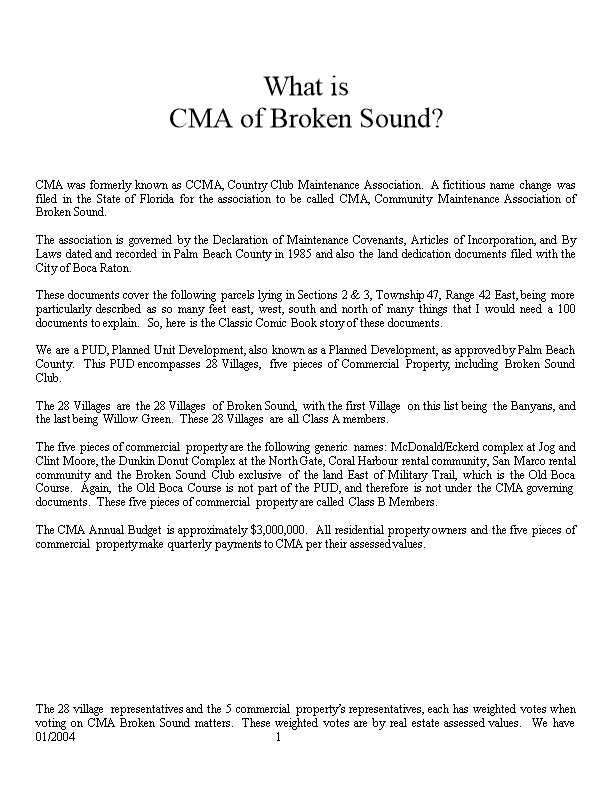 What Is CMA of Broken Sound