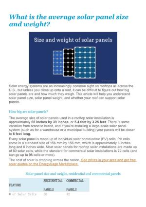 What Is the Average Solar Panel Size and Weight?