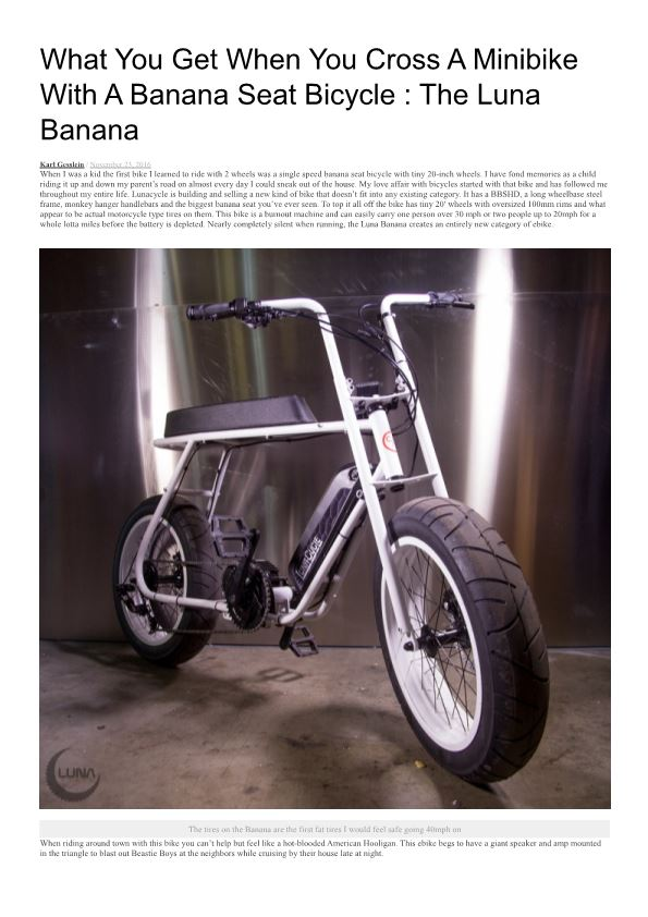 What You Get When You Cross a Minibike with a Banana Seat Bicycle : the Luna Banana