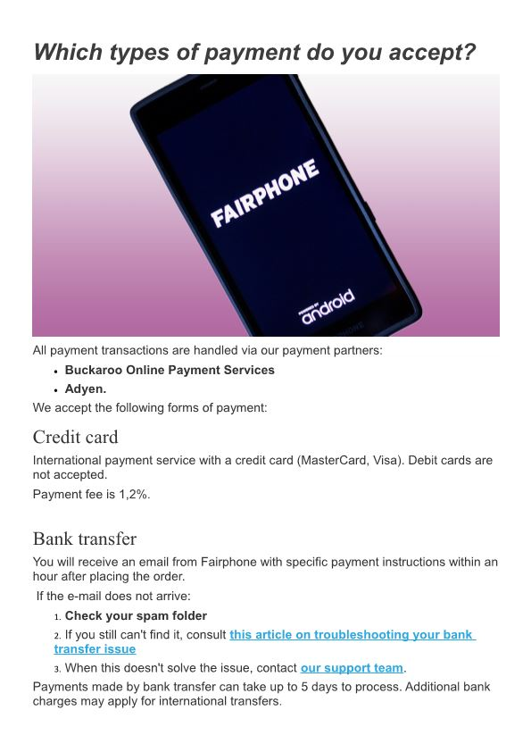 Which Types of Payment Do You Accept?