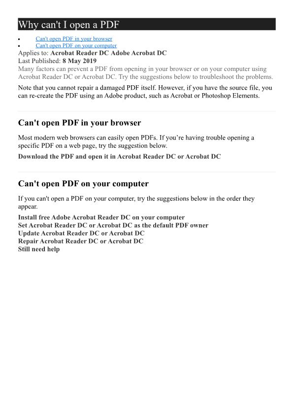 Why Can't I Open a PDF