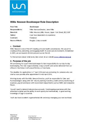 Willis Newson Bookkeeper Role Description