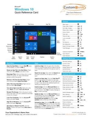 Windows 10 Quick Reference Card