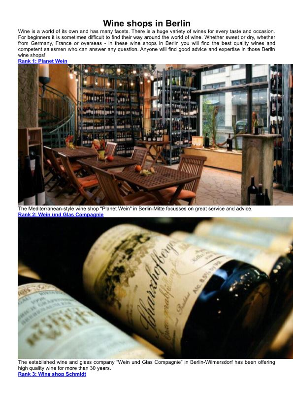 Wine Shops in Berlin