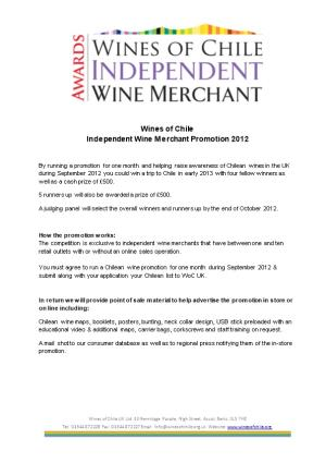 Wines of Chile Independent Wine Merchant Promotion 2012