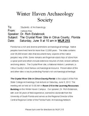 Winter Haven Archaeology Society