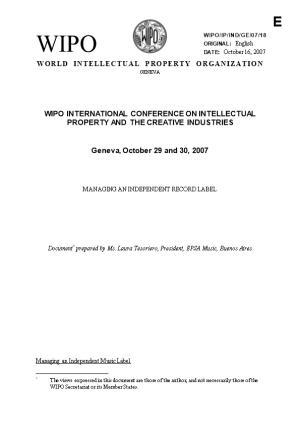 WIPO/IP/IND/GE/07/18: Managing an Independent Record Label