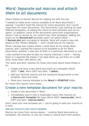 Word: Separate out Macros and Attach Them to All Documents