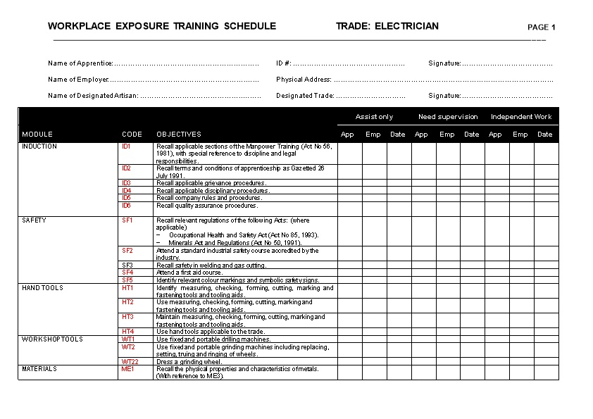 Workplace Exposure Training Schedule Trade: Electrician Page 1