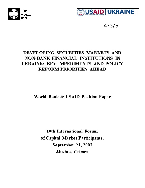 World Bank & USAID Position Paper