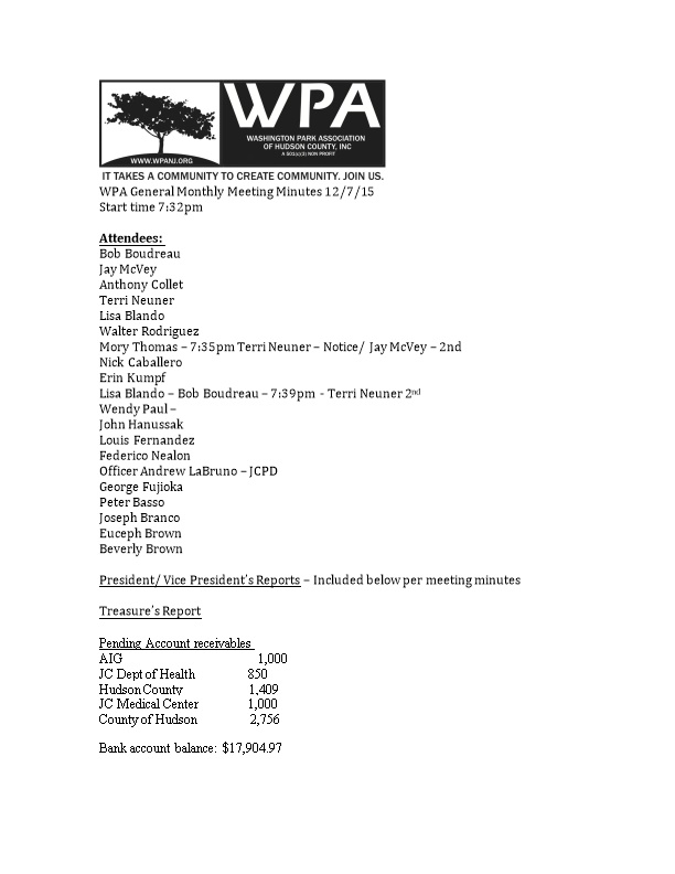 WPA General Monthly Meeting Minutes 12/7/15