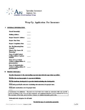 Wrap-Up Application for Insurance