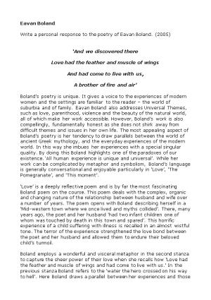 Write a Personal Response to the Poetry of Eavan Boland. (2005)