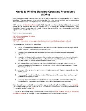 Writing Standard Operating Procedures for the Department of Environment and Conservation