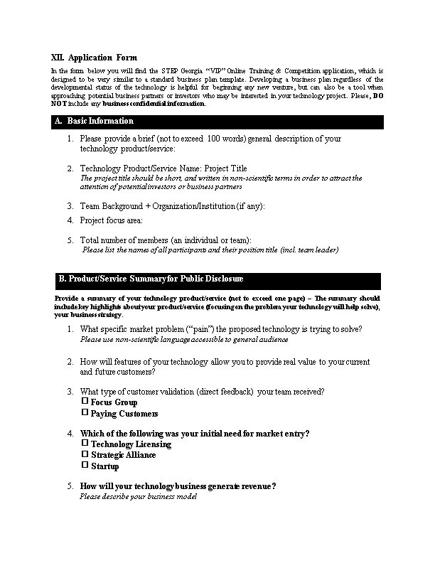 XII. Application Form