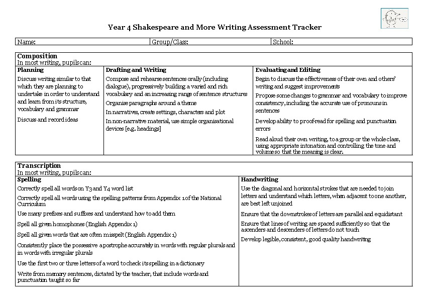 Year 4 Shakespeare and More Writing Assessment Tracker