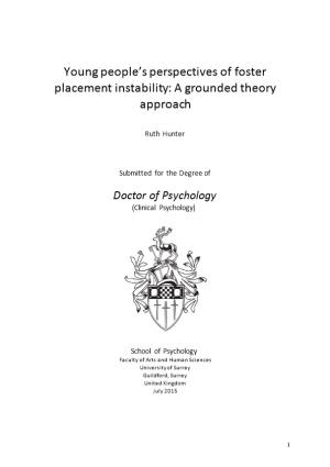 Young People S Perspectives of Foster Placement Instability: a Grounded Theory Approach